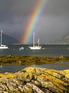 Rainbow over Rhu with 'Herbie' at anchor