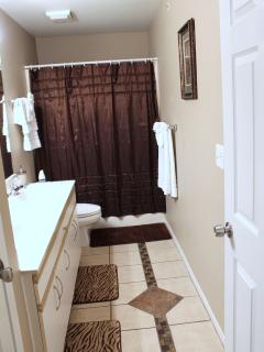 Master Bathroom, Double Sinks, Shower and Whirlpool Tub, Hair Dryer, 2 Styling Irons.