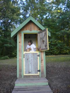 Composting toilet in ventilated outhouse with dutch doors!
