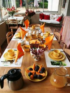 Optional breakfast, with  fresh food, jams from our fruit trees, homemade yogurts, brioche and cakes