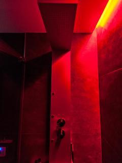 ogni bagno è dotato di doccia con idromassaggio e cromoterapia