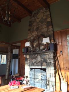 the 12 foot high stone fireplace