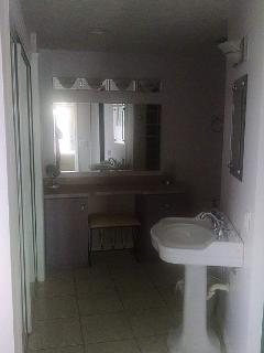 Master bath includes claw foot tub, pedestal sink, shower and laundry facilities