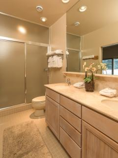 Large Double Sink Bathroom with large shower attached to Bear Room