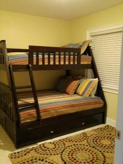 3rd bedroom - 3 beds - top bed is twin - middle bed is full size & trundle bed that pulls out twin