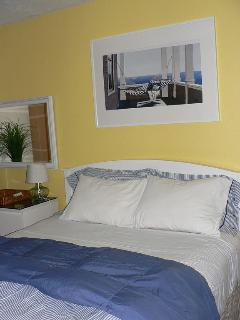 Bright and Cheery Bedroom with TV, DVD, and Extra Blankets.  Drawer Space for Guests