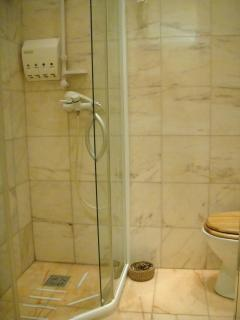 walls and floor in bathroom made from Italian marble