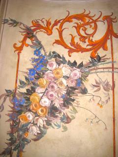 Mural in living room in Casa Padronale