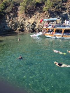 Swimming off the boat on a 12-island boat trip. Fantastic, economical day out (pickups included).