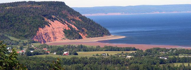Cape Blomidon and community as seen from the air.