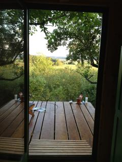View from dining-room over the terrace