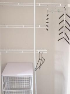 Great roomy wardrobe, with basket trolley - this can be removed if you don't want to use it.