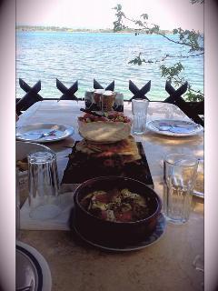 A typical greek feast at the veranda above the beach!