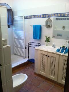 bathroom, with douple washbasins, WC, Bidet and comfortable