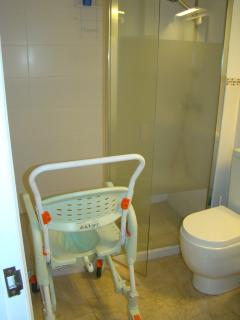 Commode chair for the shower and toilet