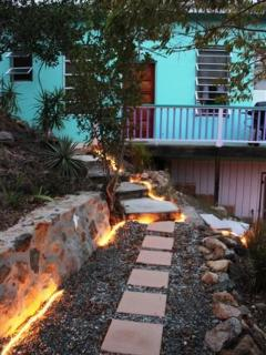 garden path from outdoor shower