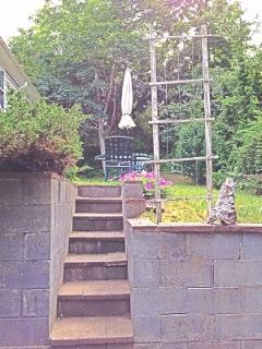 Outdoor Stairs leading From Patio into back yard