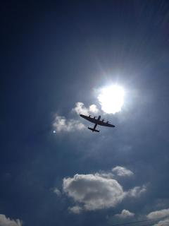 The Lancaster flying over our house