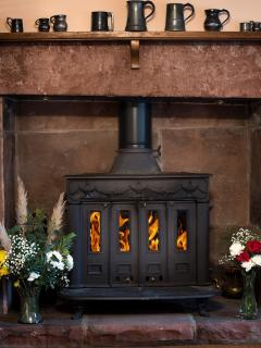 The cast iron open stove in the sitting room at Stag Cottage.