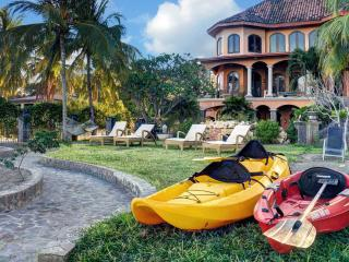 Front yard with kayaks