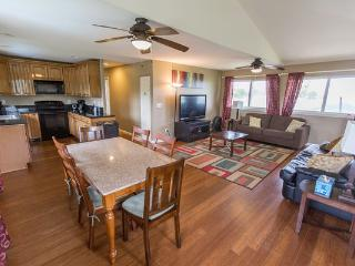 The dining room table upstairs has seating for 6 people.
