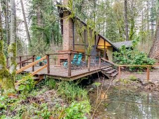 Unique, dog-friendly woodland cabin w/ a detached studio, on the McKenzie River!