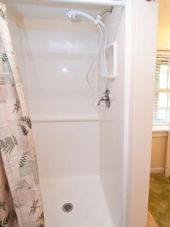 Bathroom, view 2, hand-held shower massage awakens & invigorates