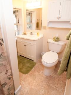 Bathroom, view 1, plush towels, fan with heater & light, . . .