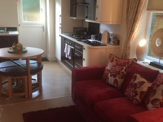 Airy lounge/kitchen area.
