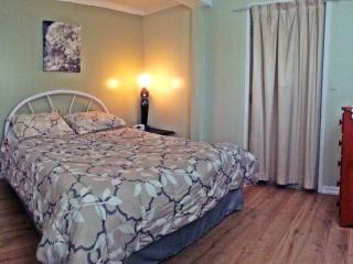 bedroom with bedding and towels supplied