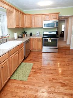 Kitchen, view 3, stove w/ glass surface, combination convection oven, microwave