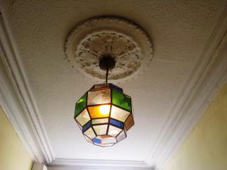 HALLWAY - Andalusian stained glass lamp and original ceiling medallion