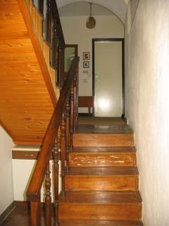 The stairs: the living room/toilet level is between the ground level and first floor.