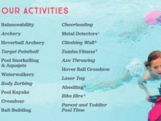 Typical activities available to book - activity passes required