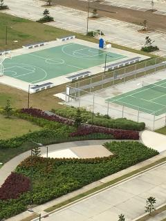 Basketball and tennis courts; indoor badminton courts.