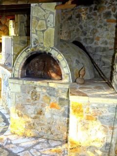 Stone made wood oven in the yard for common use