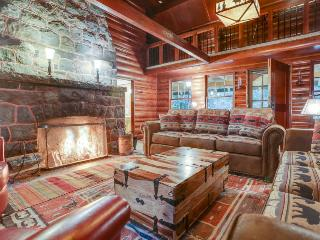 Historic riverfront Cascadian lodge with large deck & gazebo - close to skiing