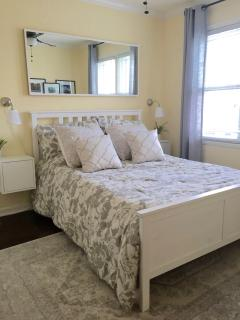 The 2nd bedroom has a queen sized firm memory foam mattress and closet space for your belongings.