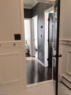 View exiting bathroom into hallway.