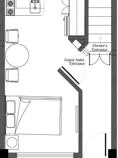 1st floor Casa Loretta Guest Suite layout, front gate & courtyard seating area.