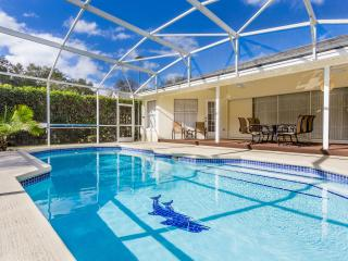 South Facing, very private pool area with fully covered Lanai area equipped with 2 paddle fans