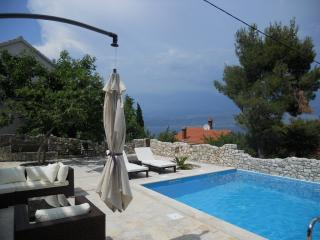 Kiwi has a spacious terrace, sea and pool view, Splitska