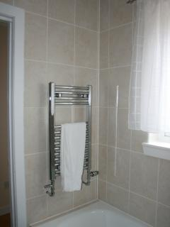 Heated Towel rail in the bathroom with walk-in level access shower as well as the bath.