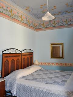 Blue double bedroom.