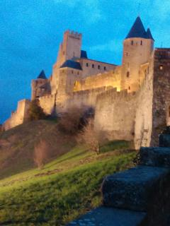 Carcassonne Castle at night, a haunting scene! Just 45 minutes drive away. Summer Jousting display!