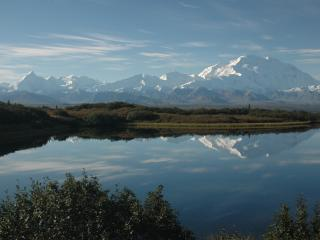 View of Denali from Wonder Lake inside The Park.