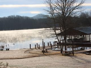 View of the lake in the winter time. Usually the lake is not this full.