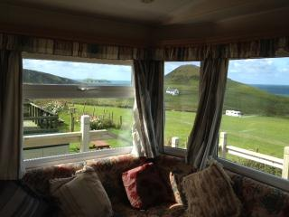 Static caravan. Mwnt,  Cardigan Bay