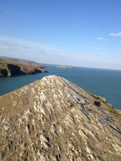 The view from the top of the Mwnt with Cardigan Island.