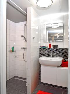 Badkamer met inloopdouche en toilet. Van alle gemakken voorzien. Hand, baddoeken en toil. artikelen.